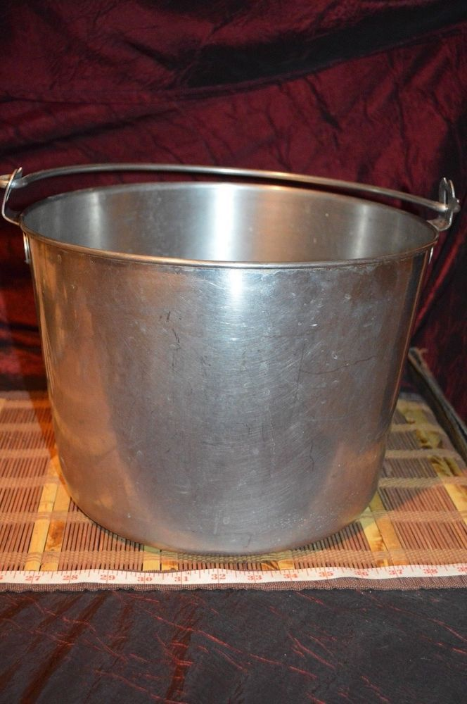 """Vintage Stainless Steel Bucket, Large Swiss Goat or Cow Milking Pail 11 3/4""""x9"""""""