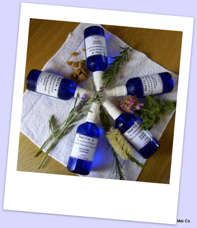 Mai Co.'s complete range of Hydrosols make a wonderful 'pamper' gift for someone special. Either individual or as a set - wonderfully fragrant and gentle! These Blue Glass Bottled gems can be used for the skin, hair, bath, linen spray or simply as a cooling spray in the hot summer heat! Healing, pampering and glorious smelling all in a bottle!