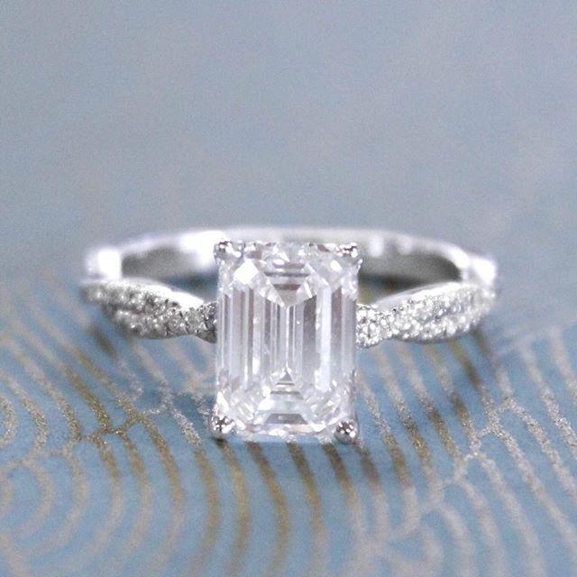 The elegance of emerald cuts. #BrilliantEarth #EngagementRing
