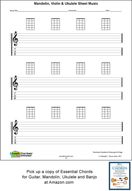 Ukulele Songs | Ukulele Blank Sheet Music, Staff, Tab, Acoustic Music TV