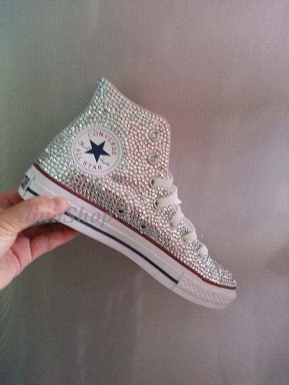 Bling Hochzeit Converse flache Schuhe Remasuri saubere Kristalle Bling Sneaker Schuhe: Strass Braut Sneaker Schuhe flach Bling Schuhe hoch Top style