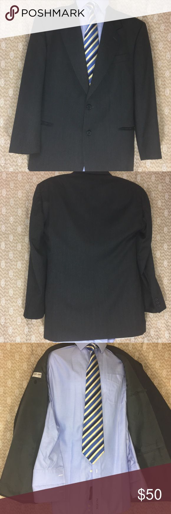 Armani blazer! Cleaned, pressed, and ready to impress! Nice charcoal color and great fit. Shown with Donald Trump tie that is included FREE if you buy the coat at full price. Dry cleaner tried to remove a stain but left it a tiny bit discolored. It's not a big deal but I'm set on not selling anything below a certain standard. The coat itself is MINT! Giorgio Armani Suits & Blazers Sport Coats & Blazers