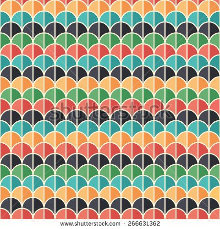 Flat style seamless pattern with colorful semicircles. #geometricpattern #vectorpattern #patterndesign #seamlesspattern