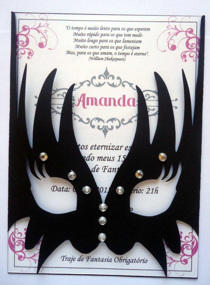 http://www.beadshop.com.br/?utm_source=pinterest&utm_medium=pint&partner=pin13 - Convite Baile de Máscaras - 1076 | Convites Laços Perfeitos | Elo7