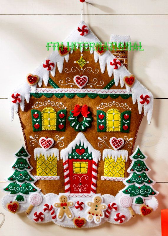 Bucilla Nordic Gingerbread casa fieltro calendario Adviento