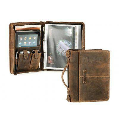 GreenBurry Leren Tablet schrijfmap met handvat, rits en ringband.