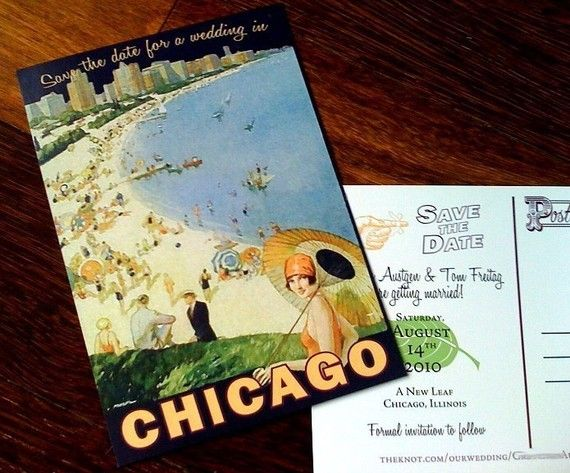 Vintage Chicago Postcard Save the Date on Etsy, $1.95