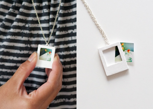 polaroid necklace made with shrinky dinks