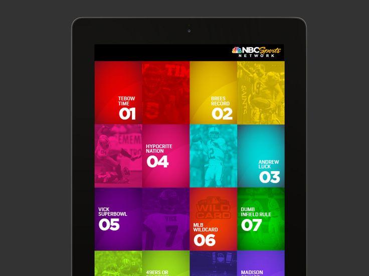 iPad UI for NBC Sports Network 1