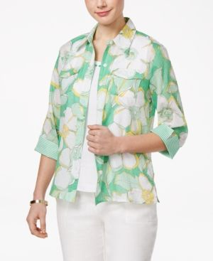Alfred Dunner Petite Bahama Bays Floral-Print Layered-Look Top - Green 10P