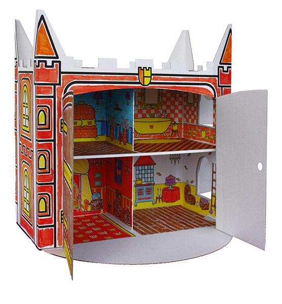 Doll House Toy Cardboard Box Comes as a flat pack.  Children are able to construct, colour and play for hours with this dollhouse. Perfect birthday gift idea.