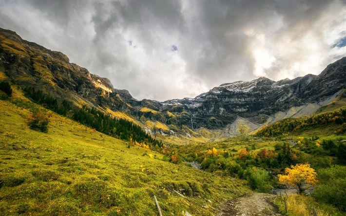 Download wallpapers Hilterfingen, mountain landscape, green mountain slope, forest, Bern, Thun, Switzerland