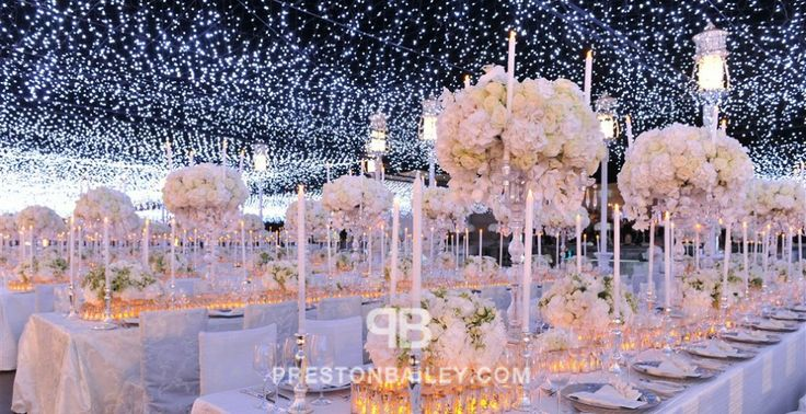 candelabra candles centerpiece chair cover hanging lights hydrangeas long table low centerpieces reception roses table setting tall centerpiece wedding color|white