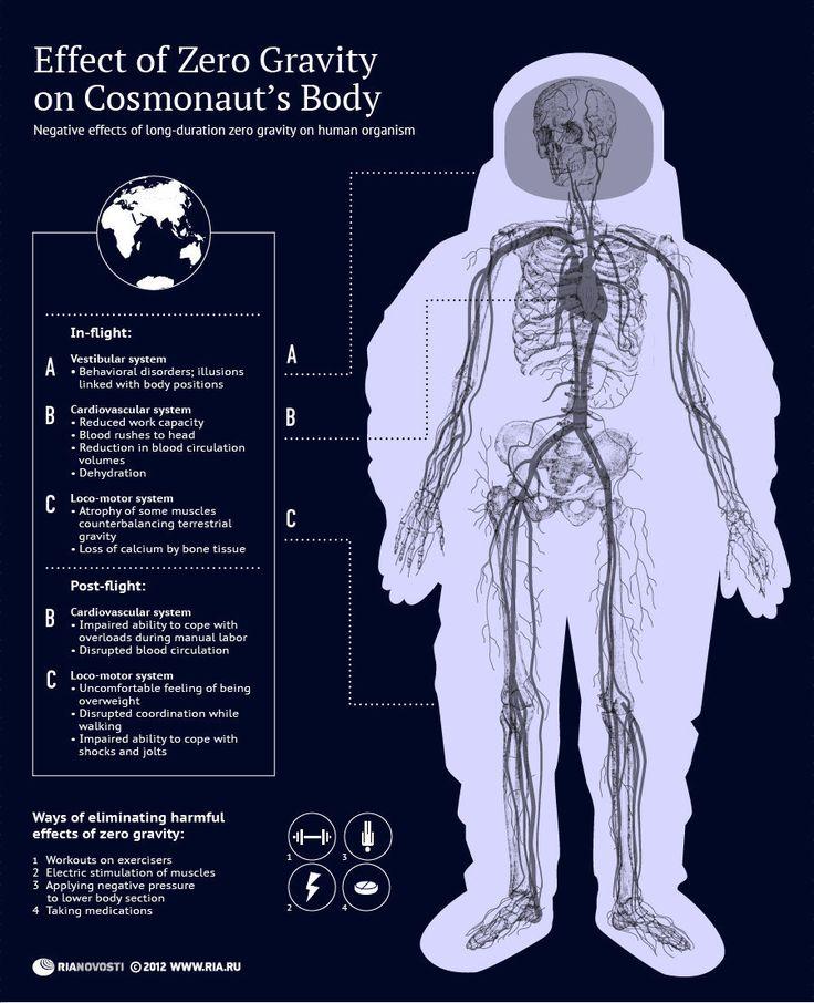 Effect of zero gravity on cosmonaut's body #infographic