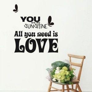 You are my Sunshine Love Quote Decor Wall Sticker