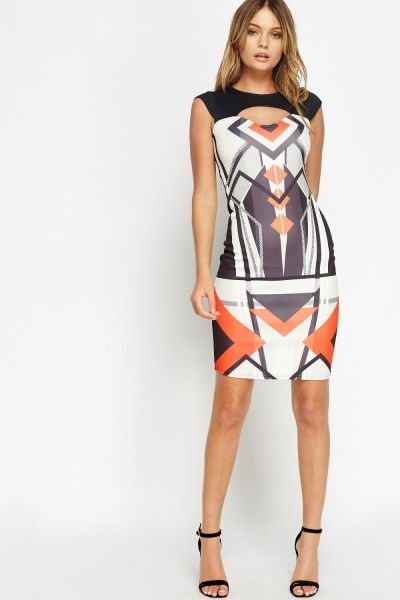 Cut Out Neck Aztec Bodycon Dress