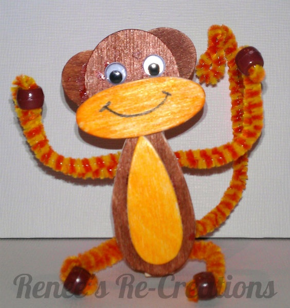 Monkey -- Woodsies & pipe cleaners
