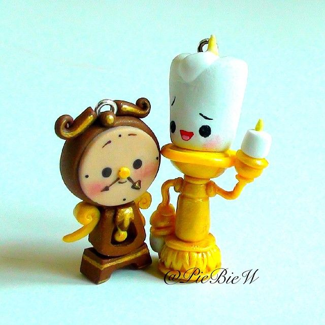 Tutorial on these two charms up on my Youtube channel now! Lumiere and Cogsworth from Disney's Beauty and the Beast! #polymerclay #disney