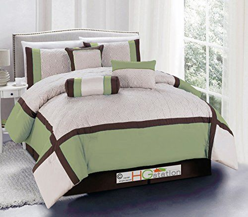 7Pc Quilted Diamond Square Patchwork Modern Comforter Set Sage Green Brown  Beige King * Click Image