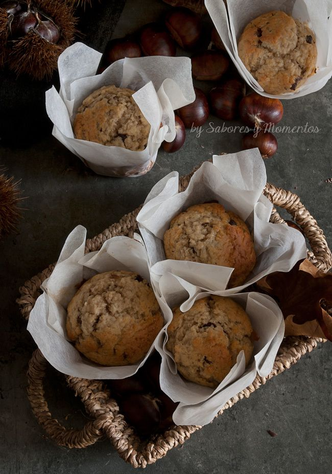 Muffins de Crema de Castaña y Chocolate - Chestnut Cream and Chocolate Muffins  www.saboresymomentos.es #recipe #autum