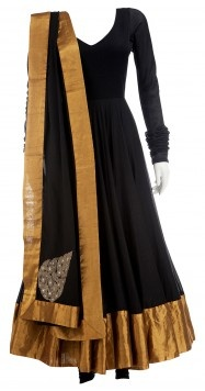 How to do Indian classy and chic: Try this beautiful anarkali by Anamika Khanna. A gold border makes this otherwise simple black outfit, pop. #SouthAsian #desi #fashion