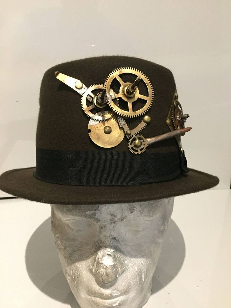 Steampunk Deluxe Brown Top Hat, With Clock Work Design, Fancy Dress Costume by Steampunkbyben on Etsy