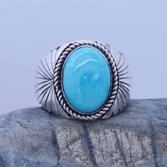 Natural Sleeping Beauty Turquoise Gemstones Mens Sterling Silver Ring By Native American Navajo Artist Size 145 15 UNIQUE