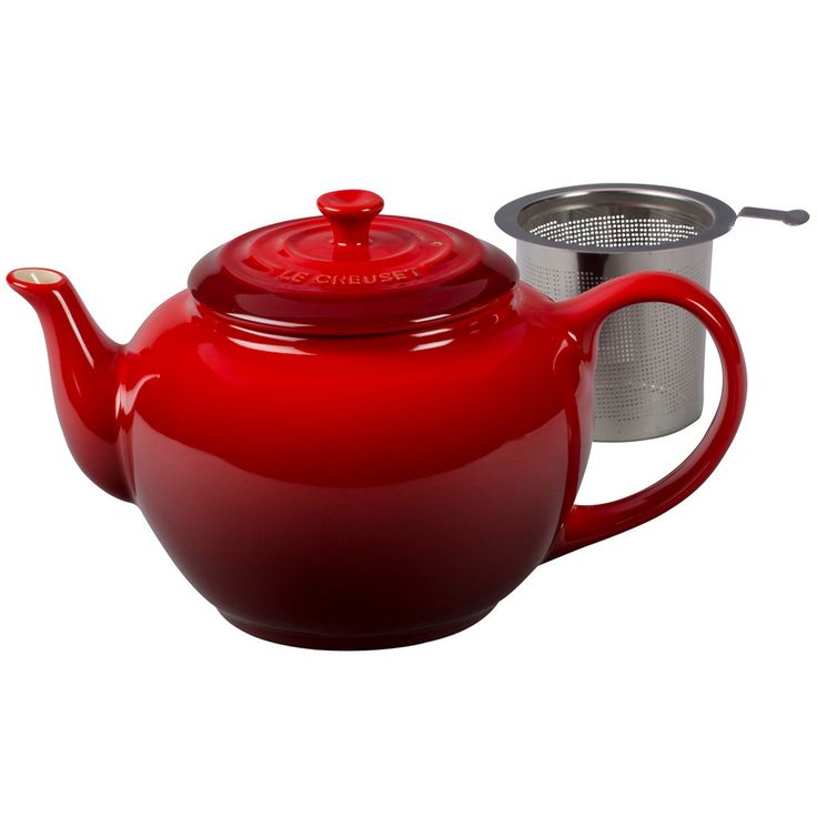 Le Creuset Unisex Large Teapot with Stainless Steel Infuser - 1 qt. Cerise Tea Pot