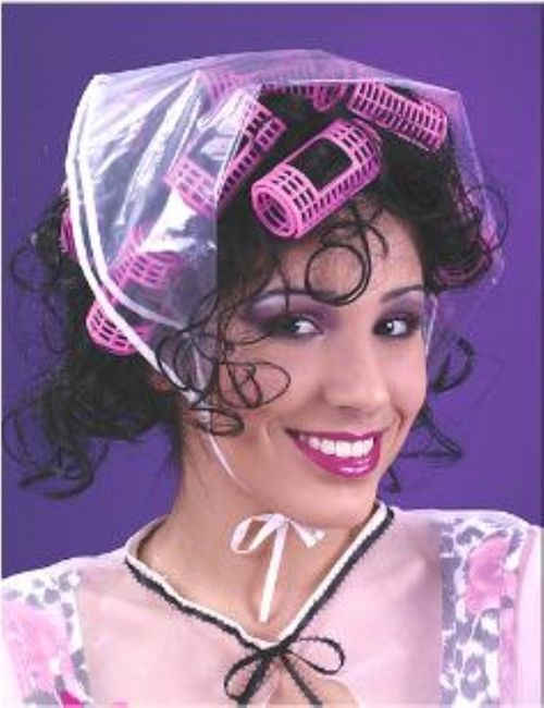 Fun Ladies Black Wig with Curlers - Step out from the salon... and stay that way! Here's a curlers 'do you can keep in all night without hurting your head.  #yyc #costume #curlers #wig
