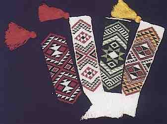 Some of the taniko headbands that went to the 1992 World Indigenous Peoples Conference and Expo 92 in Spain. Traditional patterns and my own designs