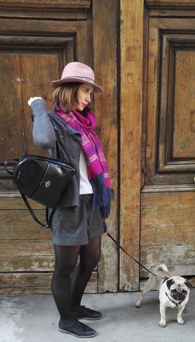 Blog Infinity Lo' / Look gris et rose / Rebozo mexicain Diez horas et chapeau rose