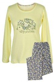 MUZZY nightwear, Piżama bawełniana w kolorze żółtym z nadrukiem jeżyka. Spodnie długie na grafitowym tle delikatne żółte kwiatki. Więcej na www.muzzy.pl/sklep