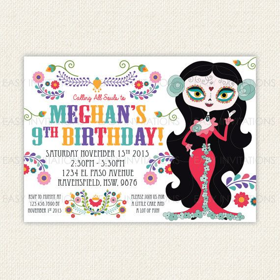 Sugar Skull Birthday Invitation Day Of The Dead Dia by EasyInvites