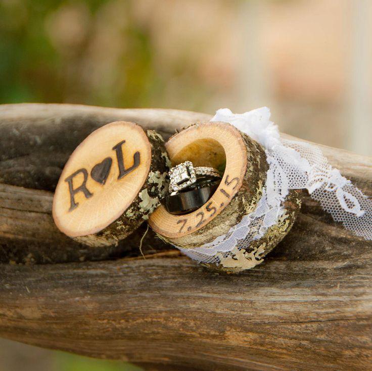 Mini Log Ring Boxes Wedding Ring Box Wood Ring Box Proposal Ring Box Engagement Ring Box Wedding Ring Holder Custom Ring Box Rustic Wooden by WoodlandFever on Etsy https://www.etsy.com/listing/243285676/mini-log-ring-boxes-wedding-ring-box