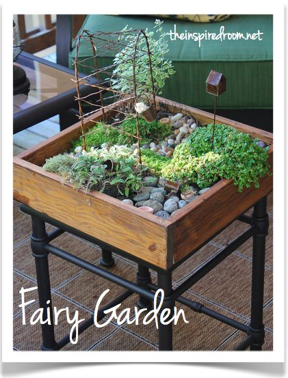 I am so doing this with a painted cart I have had for years! Have done small gardens in pots but my cart will give me a lot more room for my faeries...my grand kids will love!