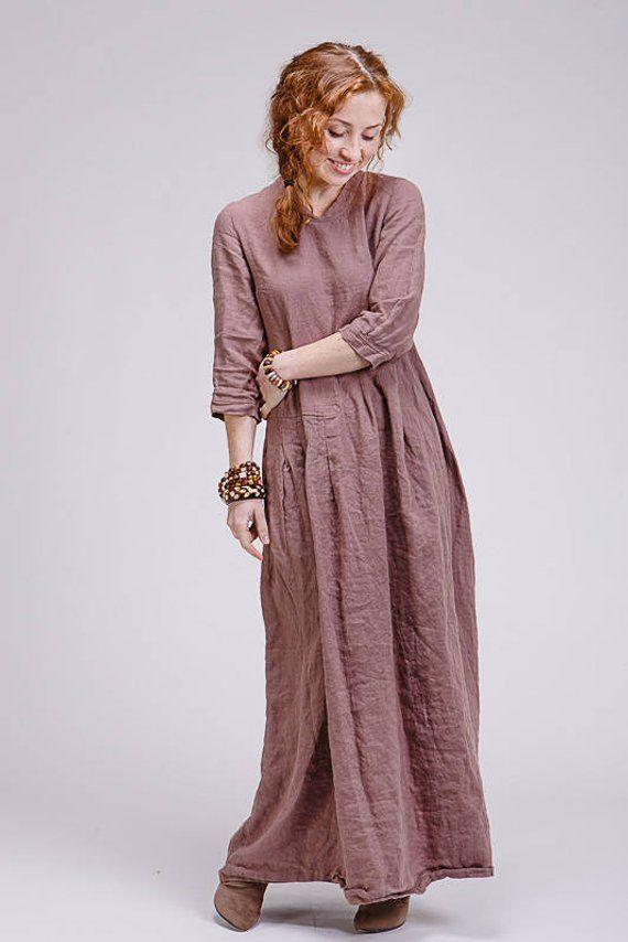 b991958ec5e Boho style pure linen dress