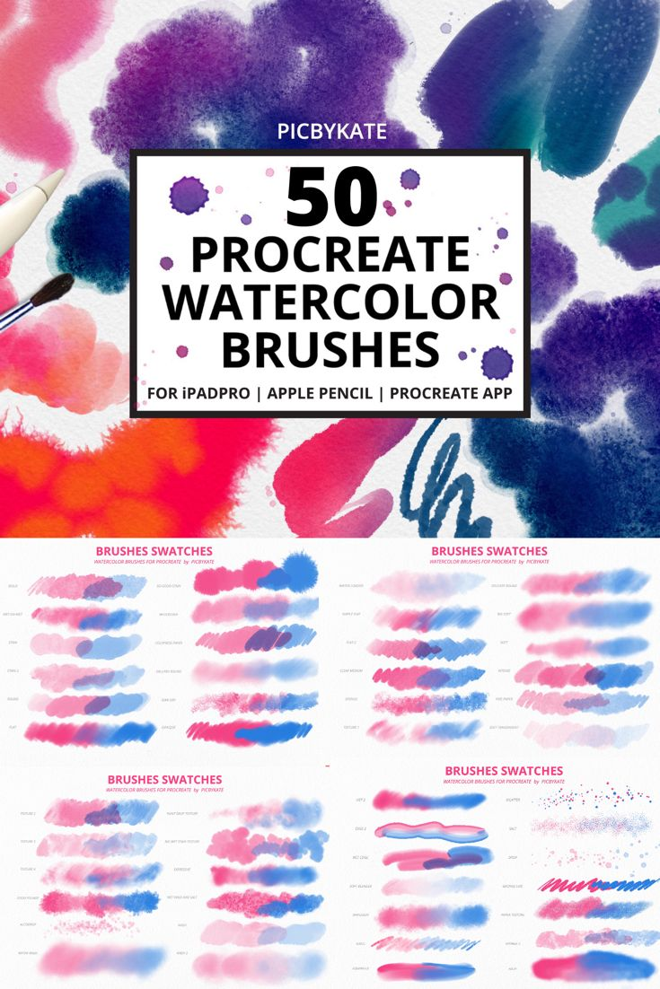 50 Procreate Watercolor Brushes In 2020