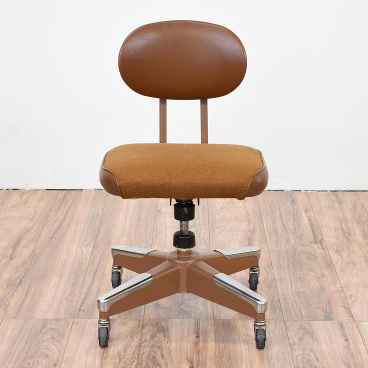 This Retro Office Chair Is Featured In An Industrial Brown And Stainless  Steel Metal With A Swivel Base. This Rolling Chair Is In Great Condition ...
