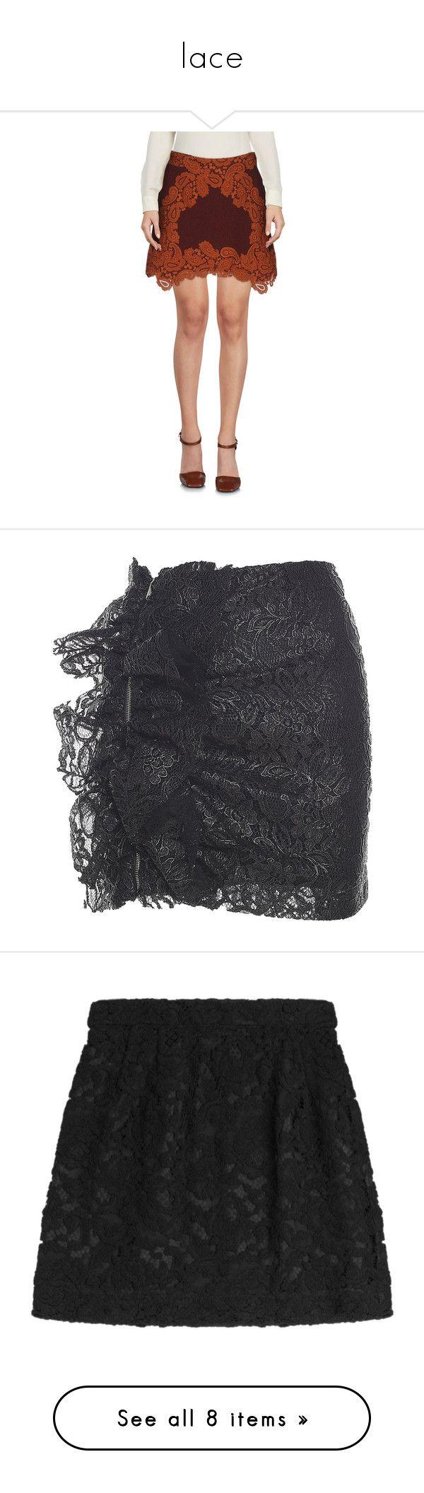 """lace"" by jeniferkcarsrud ❤ liked on Polyvore featuring skirts, mini skirts, cocoa, short skirts, zip skirt, lacy skirt, short lace skirt, lace mini skirt, nero and lace skirts"