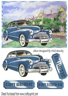 Vintage Buick blue automobile with mansion  on Craftsuprint designed by Nick Bowley - Vintage Buick blue automobile with mansion makes a lovely card for fathers day or birthday lots of other vintage designs to see, also in 8x8 mini kits  - Now available for download!