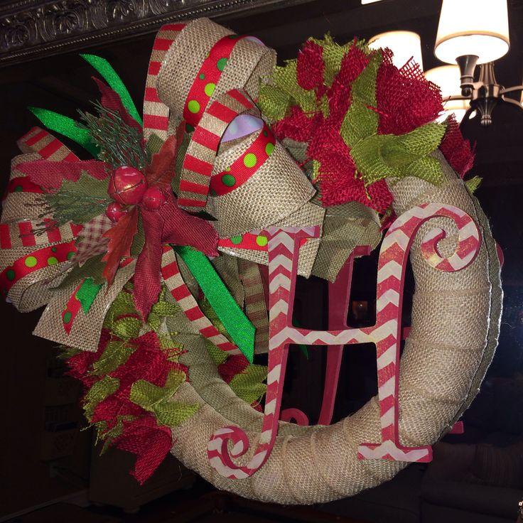 Fun Christmas burlap chevron wreath!