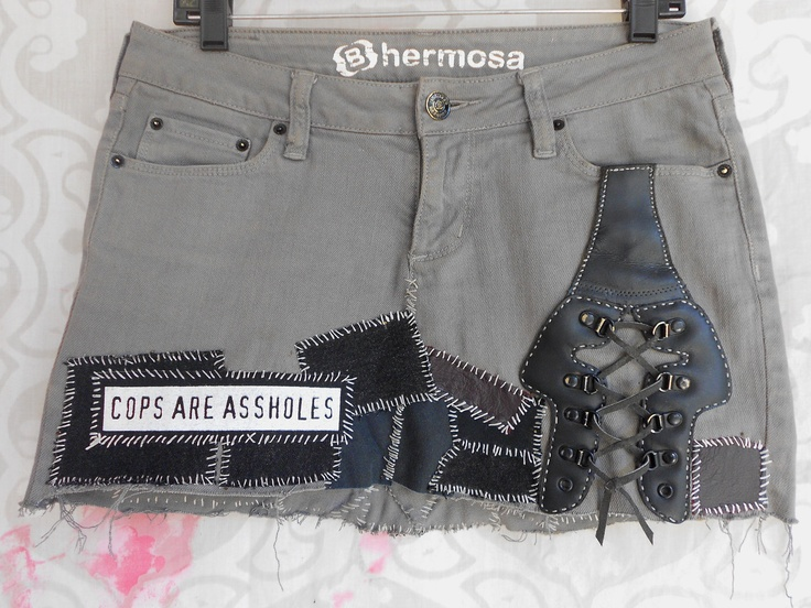 (Crust Punk Cops Are Assholes Skirt. $40.00, via Etsy.) Real crust punks diy not buy shit don't buy any cruet shit