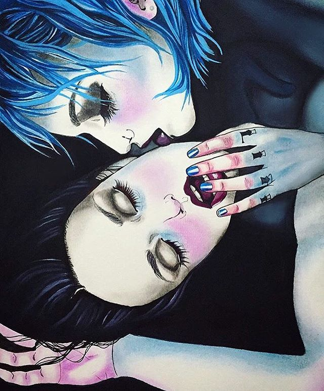 Love this painting by @harumi_hironaka of my shoot with @brain.matter X…