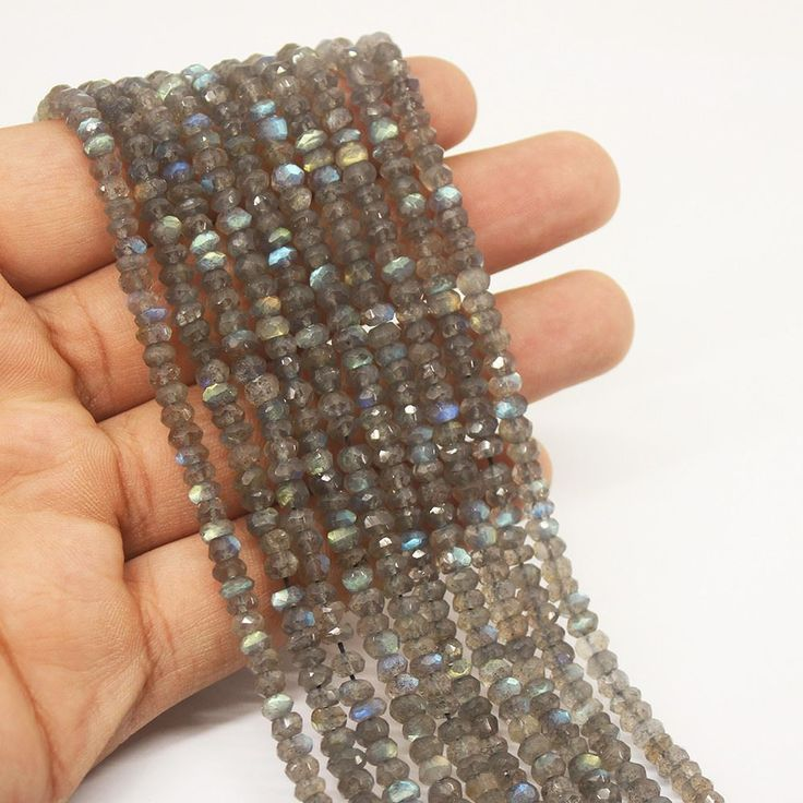 Blue Fire Labradorite Faceted Rondelle Gemstone Beads Strand - 4mm - 13 Inches