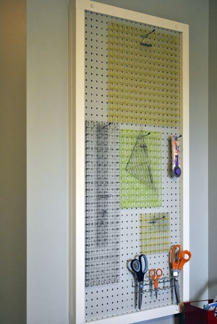 Pegboard for organized quilting rulers!