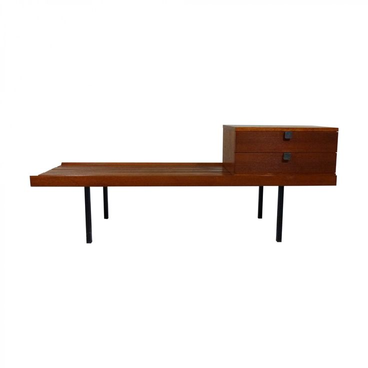 Teak Mid Century Hall Bench Television Table Telephone Seat