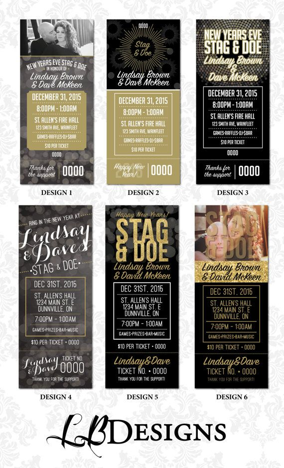 Stag and Doe Tickets  New Years Eve Theme by LindsayBrownDesigns