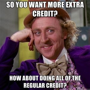 SO you want more extra credit? How about doing all of the regular credit? | willywonka