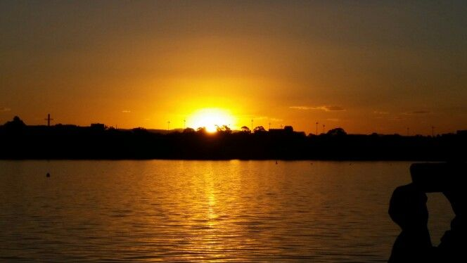 Sunset over Lake Burleigh Griffin, Canberra 2 April 2016. Amy and Graeme's wedding.