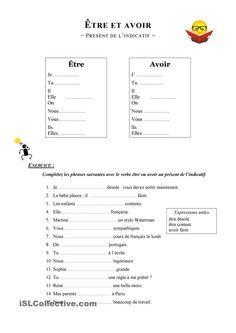 Être et avoir au présent de l'indicatif | Exercices conjugaison, Verbe etre et avoir, Verbe etre